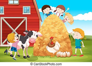 Children playing with farm animals in farm