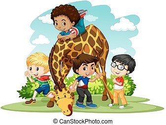 Children playing with giraffe