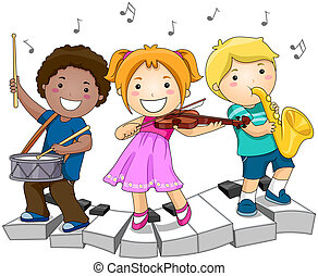 Music - Children playing with Musical Instruments with...