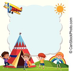 Children playng with teepee illustration