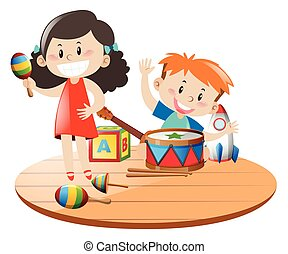 Children playing with toys