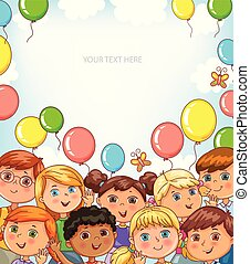 Children portraits and balloons banner with place for your text