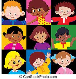Children. - Portraits of the happy children of different...