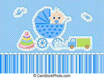 Children postcard for a boy on a blue background vector ...