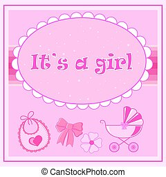 children postcard for a girl at birth