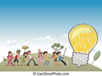 children pulling a big idea bulb - Group of children pulling...