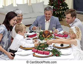 Children pulling a Christmas cracker at home in a family...