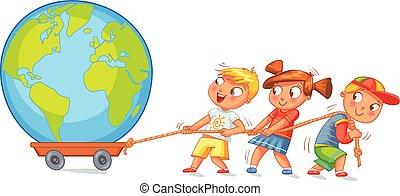 Children pulling wagon with a globe. Funny cartoon...