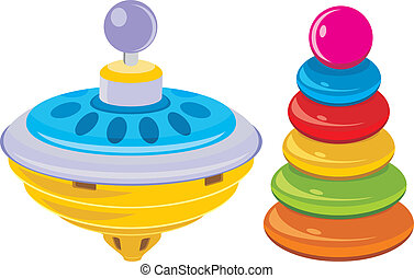 Children pyramid and whirligig toy. Vector illustration