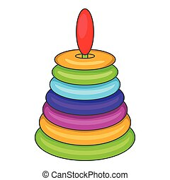 Children pyramid toy icon, cartoon style