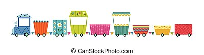 Children railroad toy train with locomotive flat vector illustration isolated.