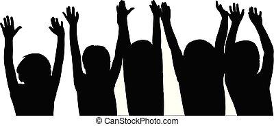 children raised hands, silhouette vector