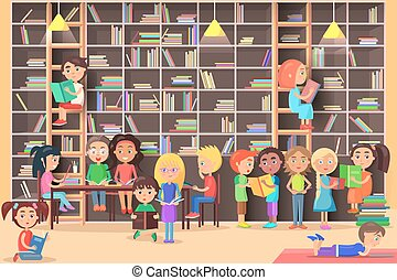 Children Read in the Library Vector Illustration.