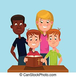 Children read the Bible. Vector flat cartoon illustration
