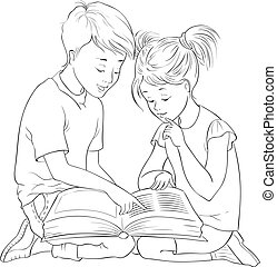 Children read the book. Vector cartoon coloring page