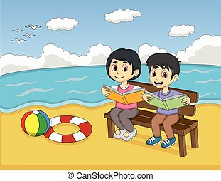Children reading a book on beach