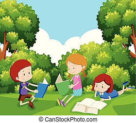 Children Reading a Book Under Tree