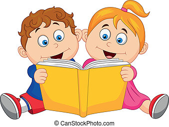 Children reading a book - Vector illustration of children ...