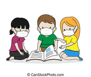 Children reading a book with masks. Isolated vector