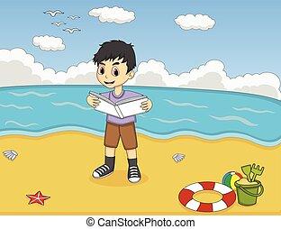 Children reading a bookat beach