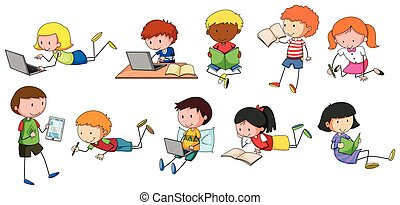 Children reading and writing in different styles
