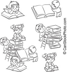 Children reading books in the library. Coloring book. Vector...