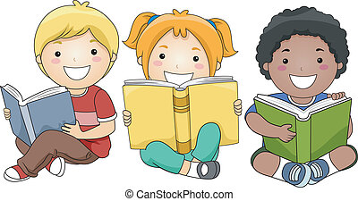 Children Reading Books - Illustration of Happy Children...