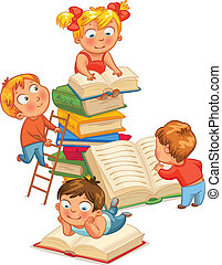 Children reading books in the library. Vector illustration....