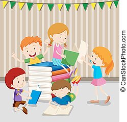 Children reading books in classroom