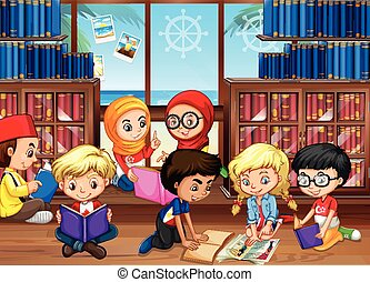 Children reading books in library