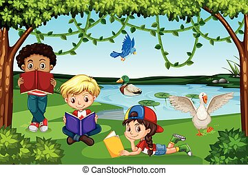 Children reading books in nature