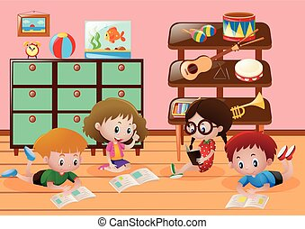 Children reading books in room