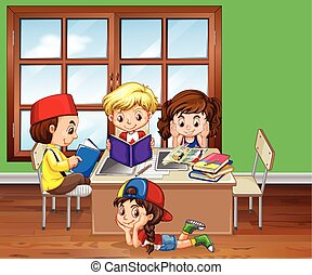 Children reading books in the classroom