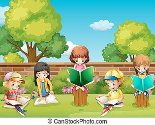 Children reading books in the garden