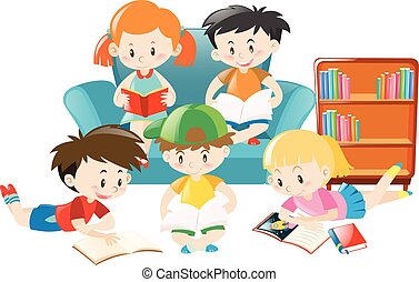 Children reading books in the room