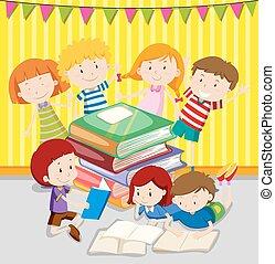 Children reading books together