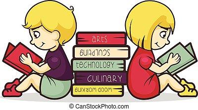 Children reading books, vector illustration