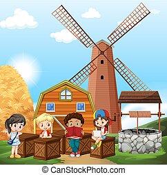 Children reading in the farm