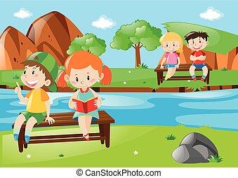 Children relaxing in national park illustration