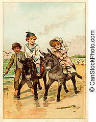 Children ride a donkey - POLAND - CIRCA 1889: Illustration...