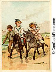 Children ride a donkey - POLAND - CIRCA 1889: Illustration...