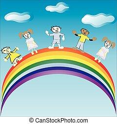 Children ride on a rainbow. Vector illustration.