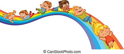 Children ride on a rainbow. Vector illustration. Isolated on...