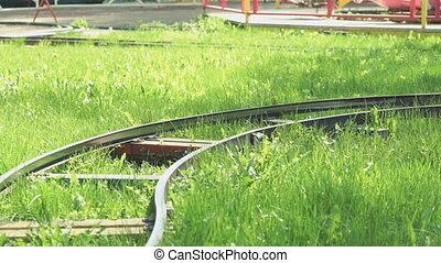 Children ride on little electric train outdoors - Children...