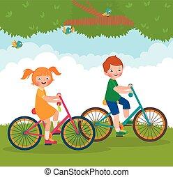 Children ride on the bike