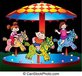 Children ride on the carousel.
