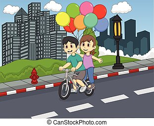 Children riding a bicycle