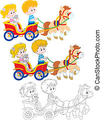 Children riding a pony