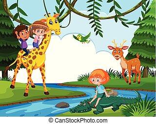 Children riding animal in nature scene