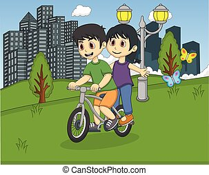 Children riding bicycle on the park
